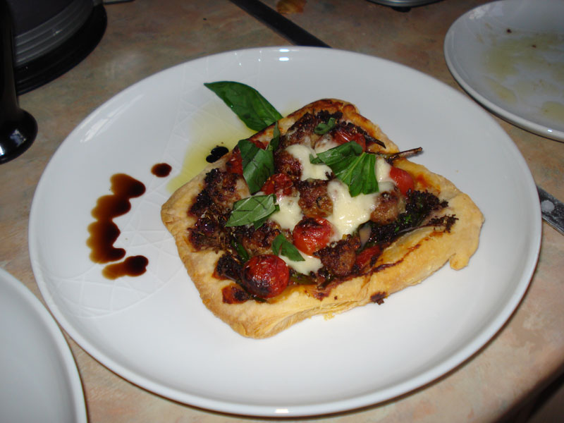 sausage tart with broccoli and cheese