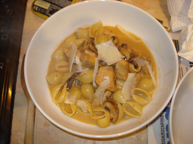 porcini marsala conchiglie with parmesan