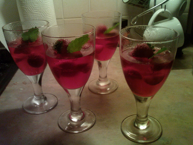 champagne and strawberry jelly