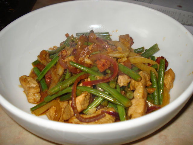 pork chorizo and fennel stir fry