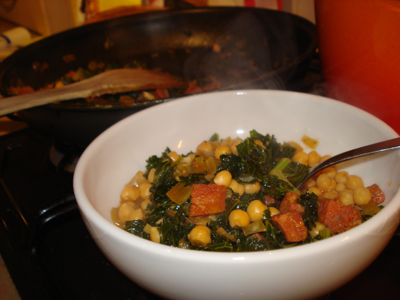 chorizo, kale and chickpea stew