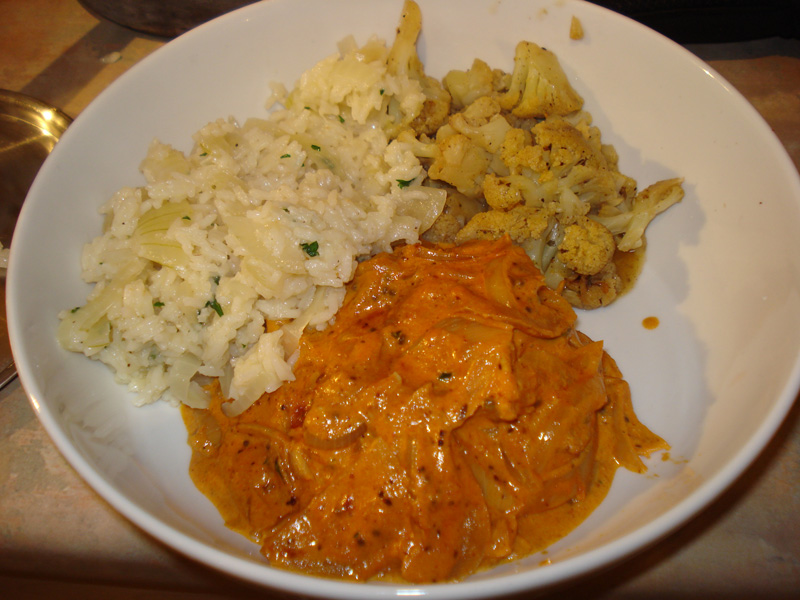 chicken tikka masala with gobi masala and aromatic rice