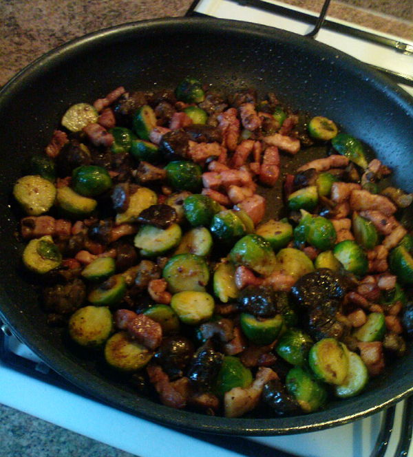 maple sprouts with lardons, chestnuts and maple syrup