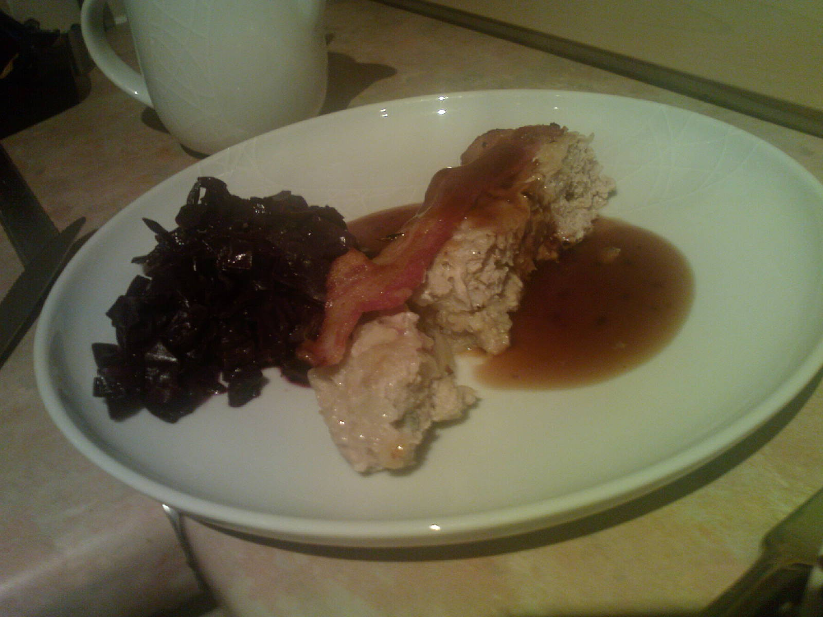 meatloaf with red cabbage and bramble gravy