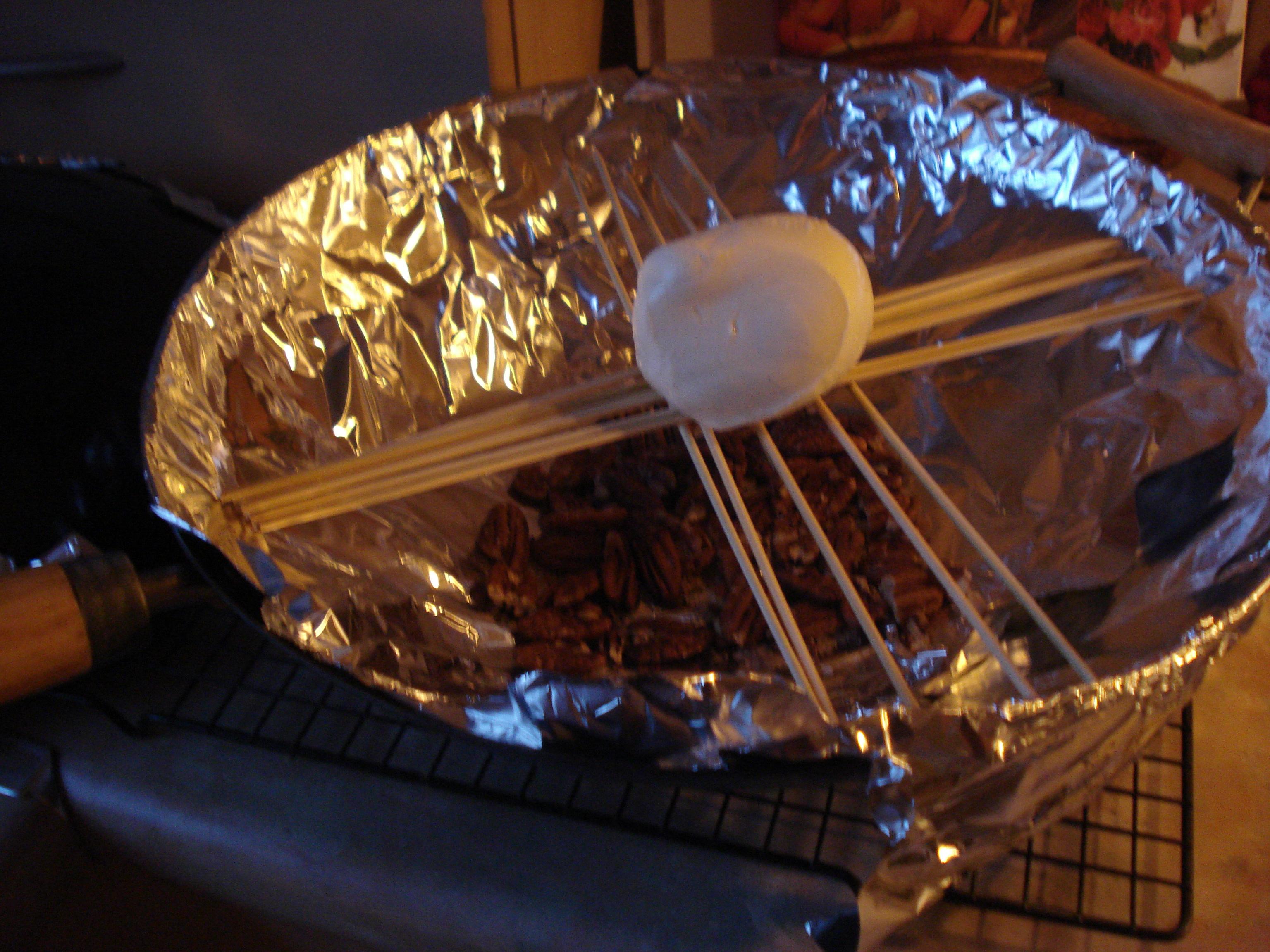 smoking mozzarella in a wok