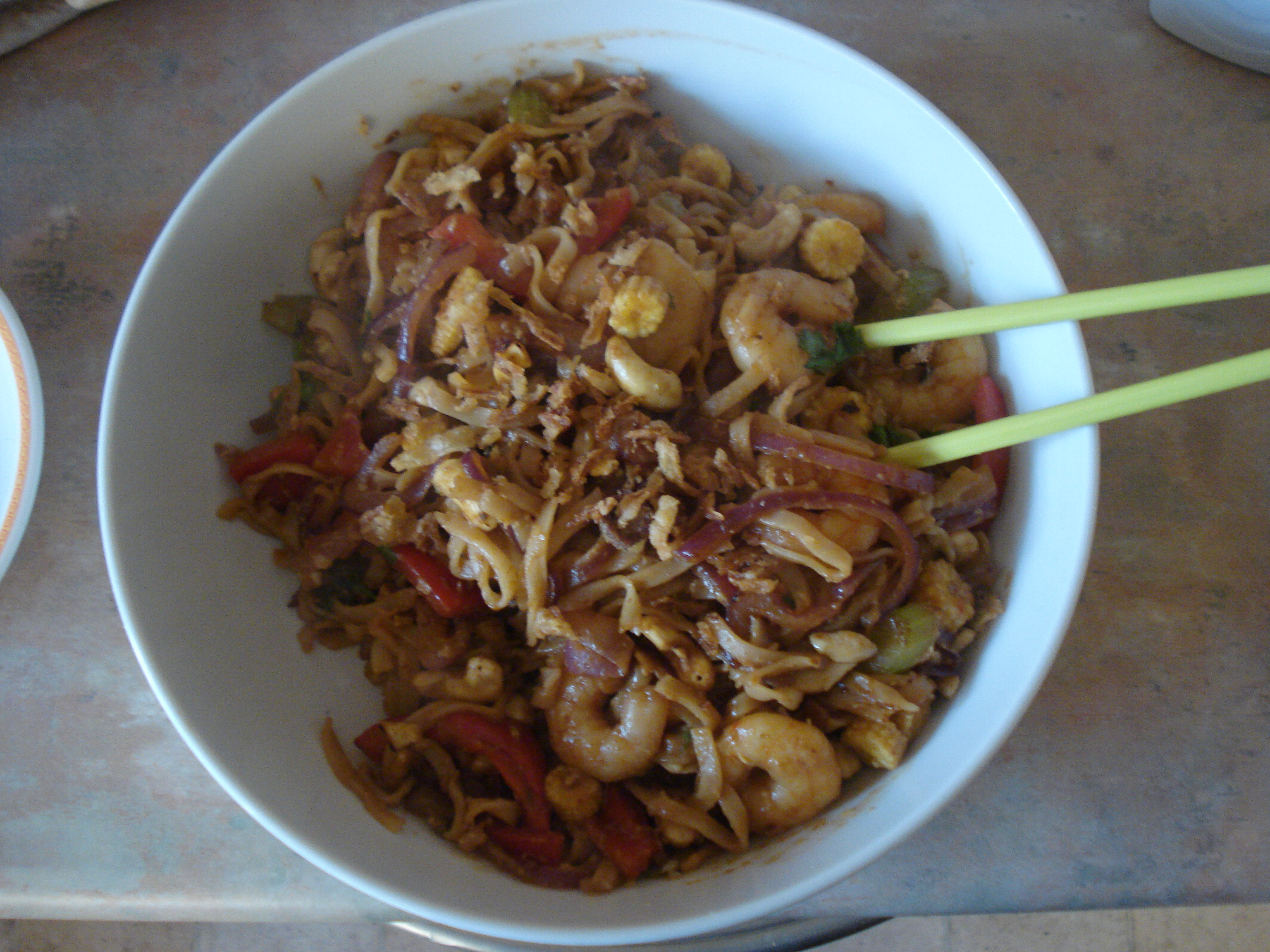 soy, ginger and garlic prawns with cashews and noodles
