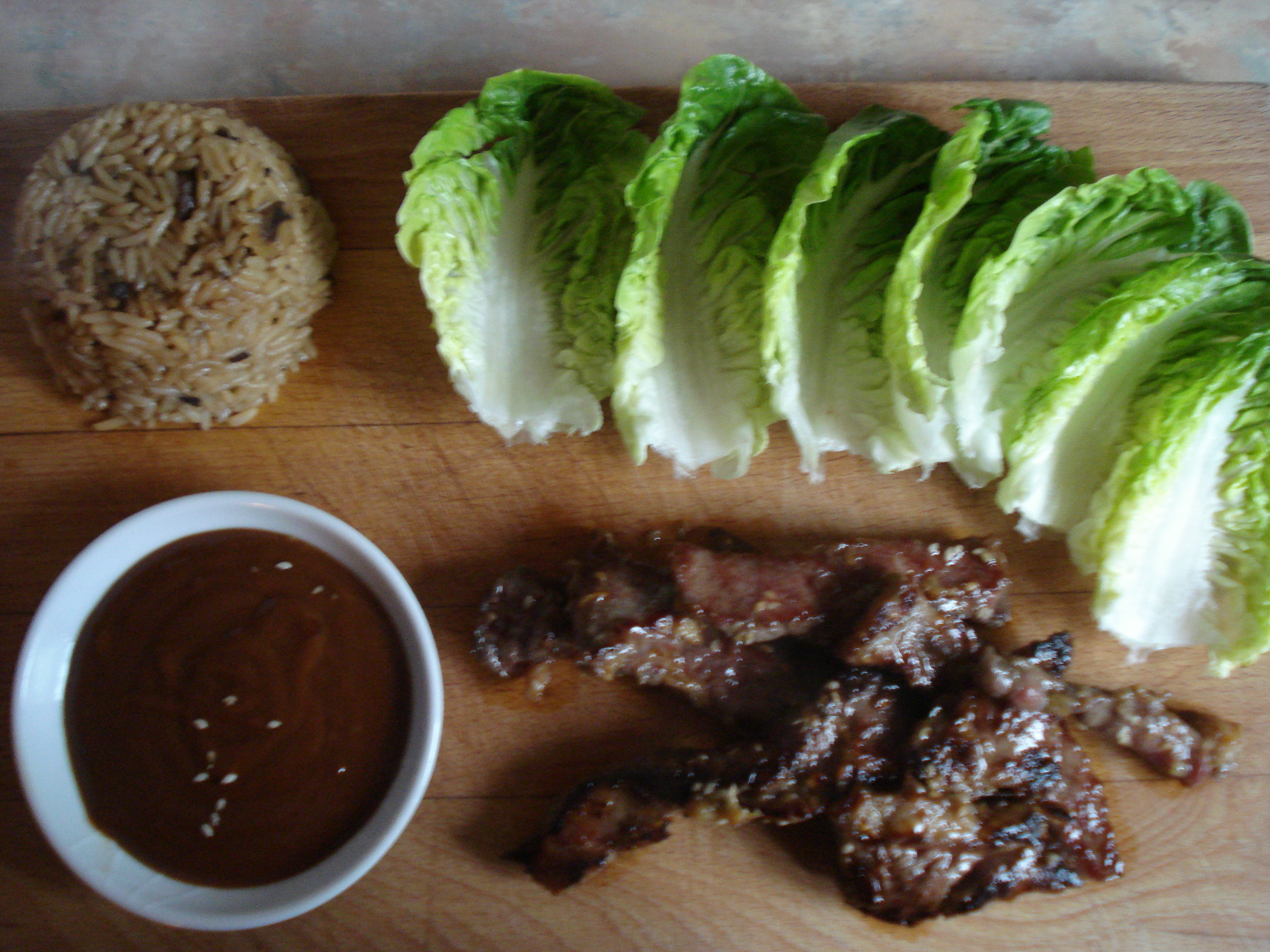 kalbi with ssam jang sauce with lettuce and rice