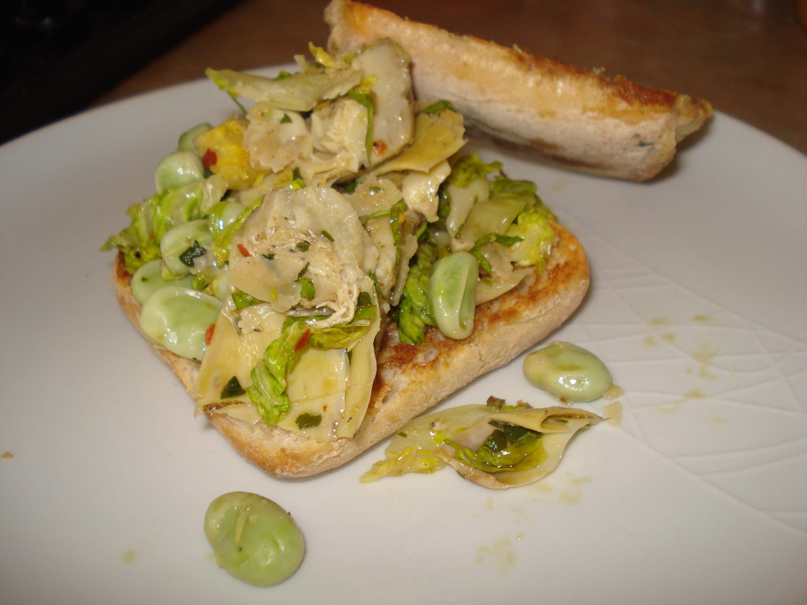 broad bean and artichoke salad on ciabatta