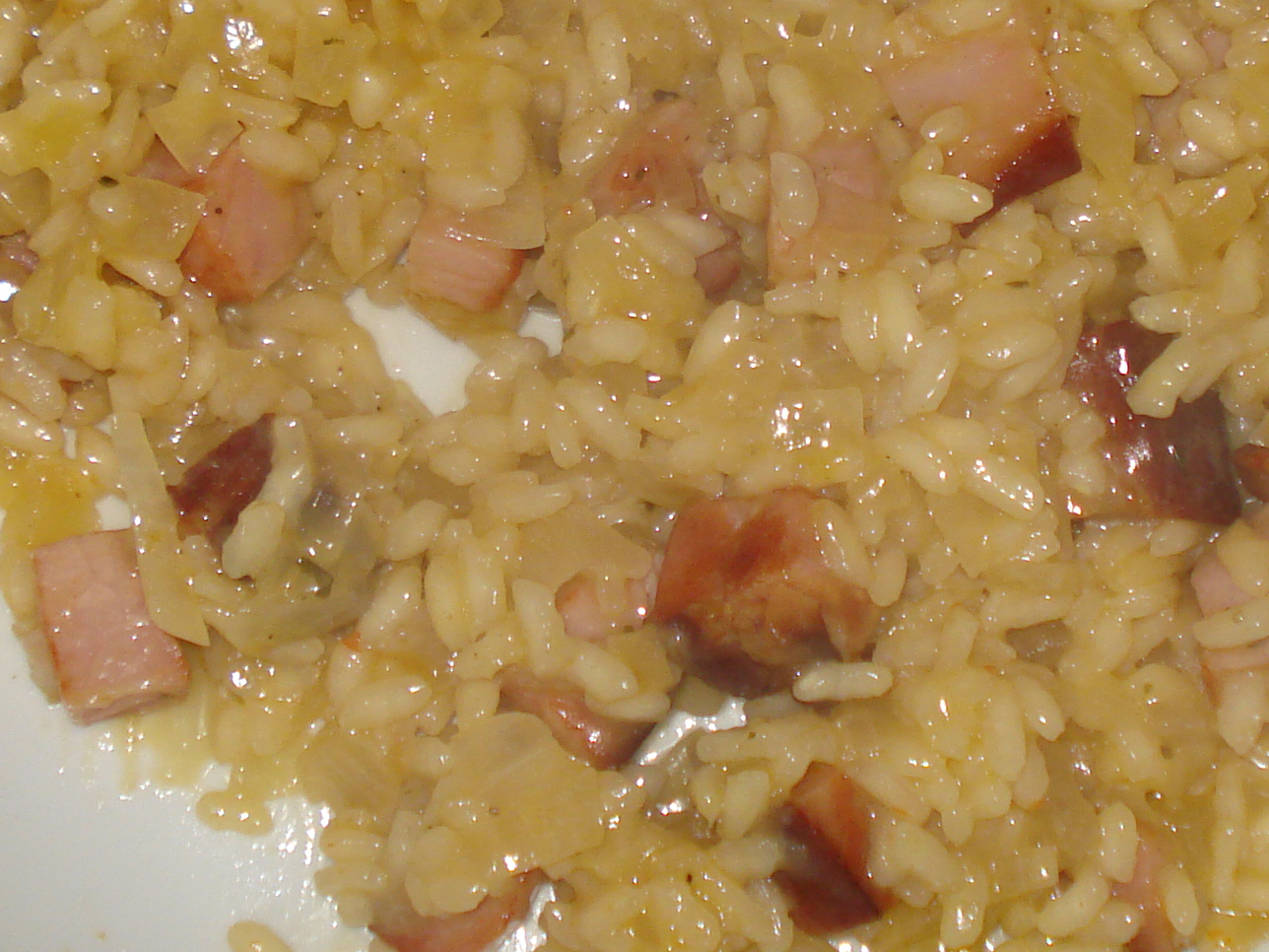 smoked cheddar and smoked ham risotto