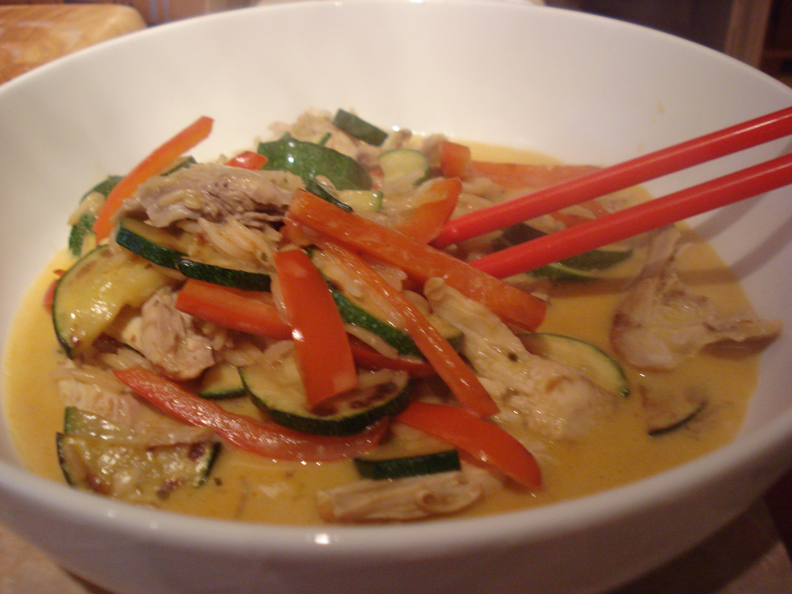 thai chicken curry with kung po rice