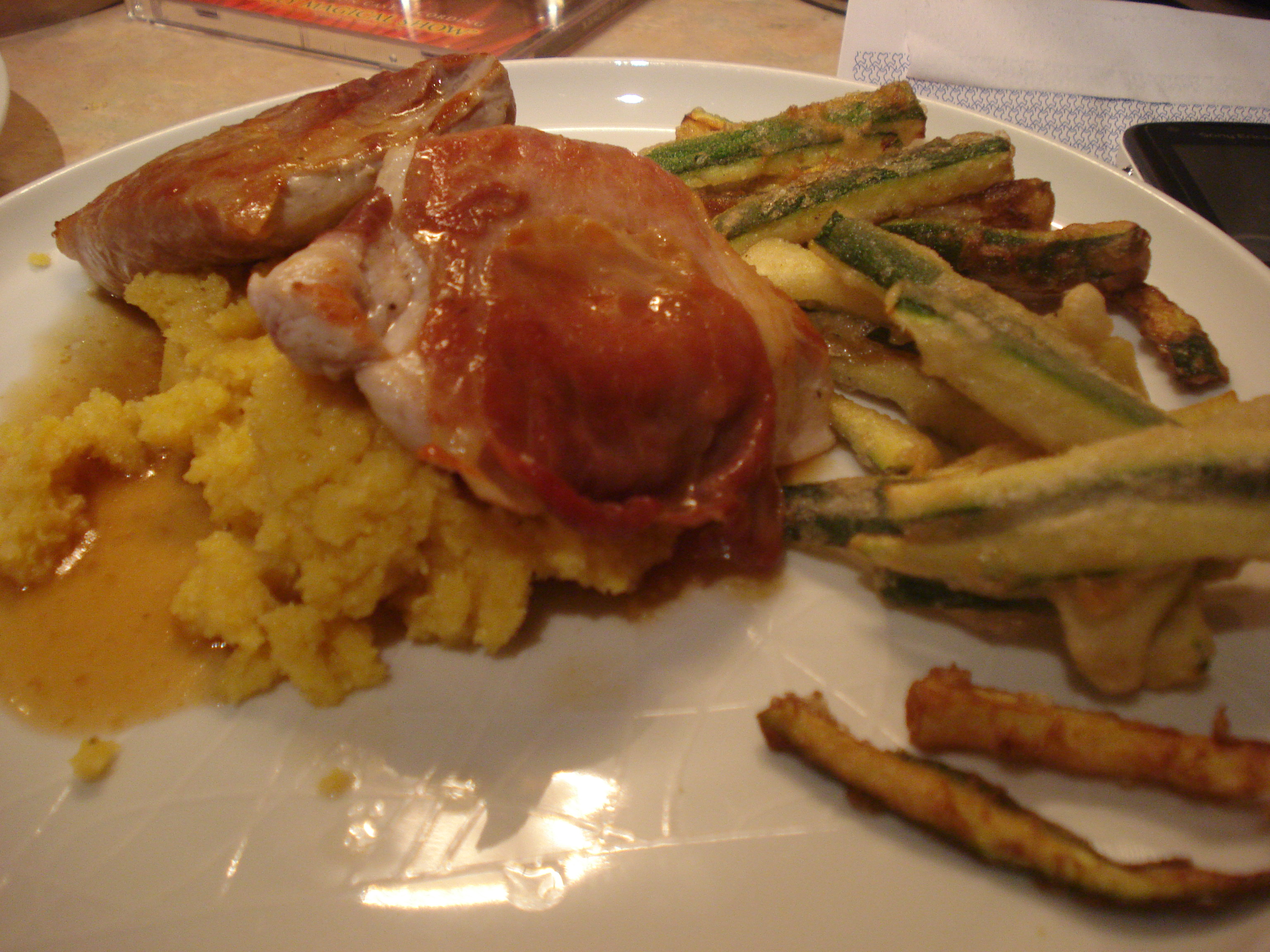 turkey and veal saltimbocca with polenta and courgette fries