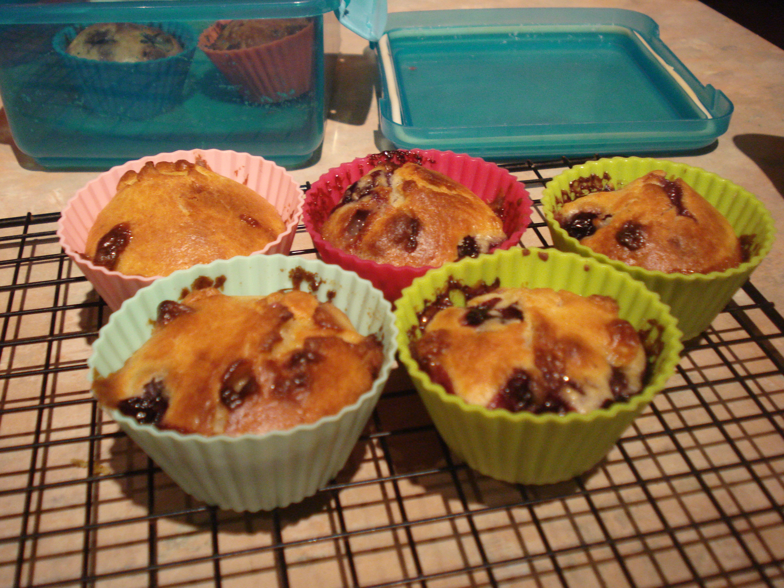 white chocolate and blueberry muffins