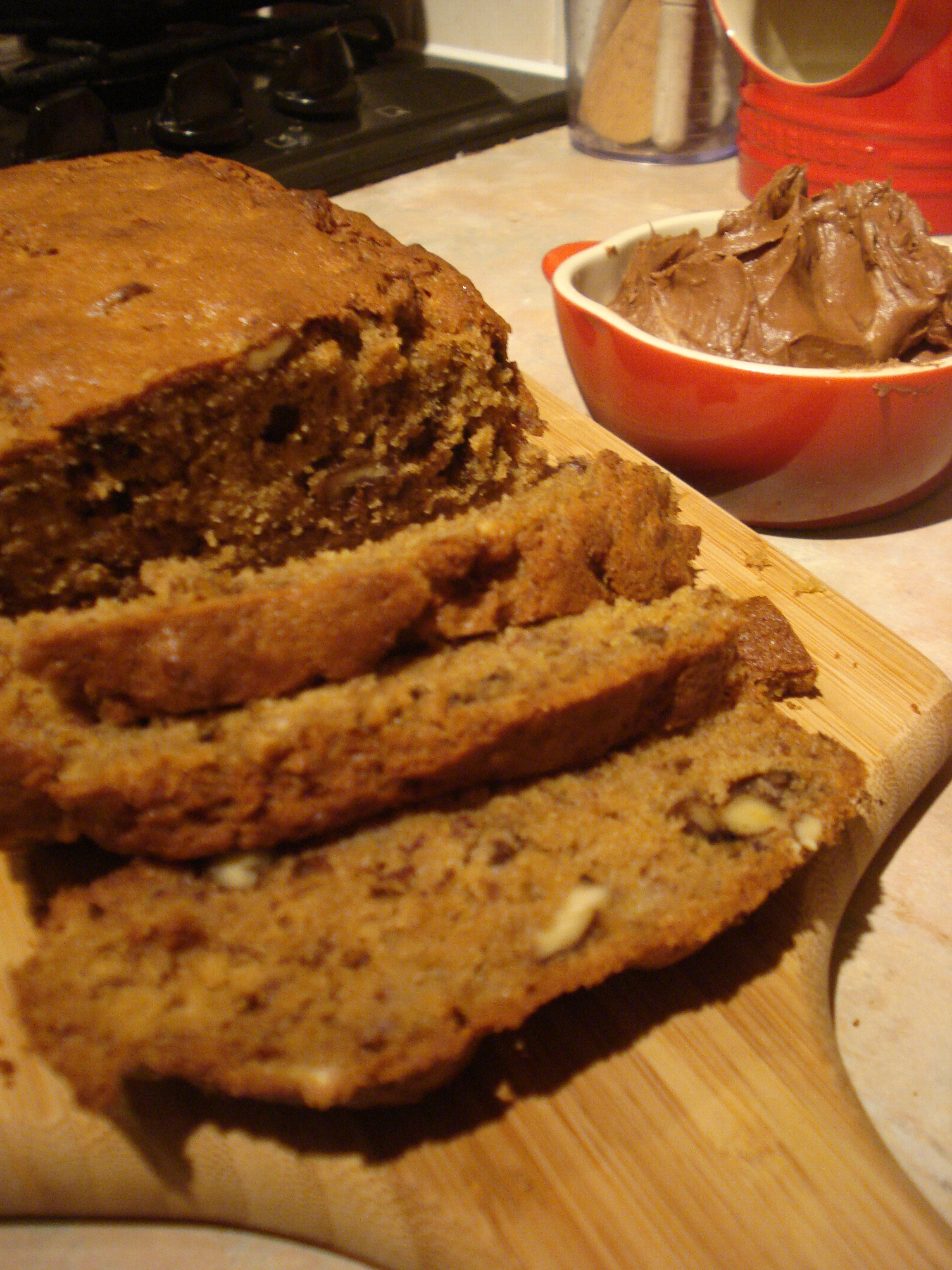 walnut and banana loaf with chocolate orange butter