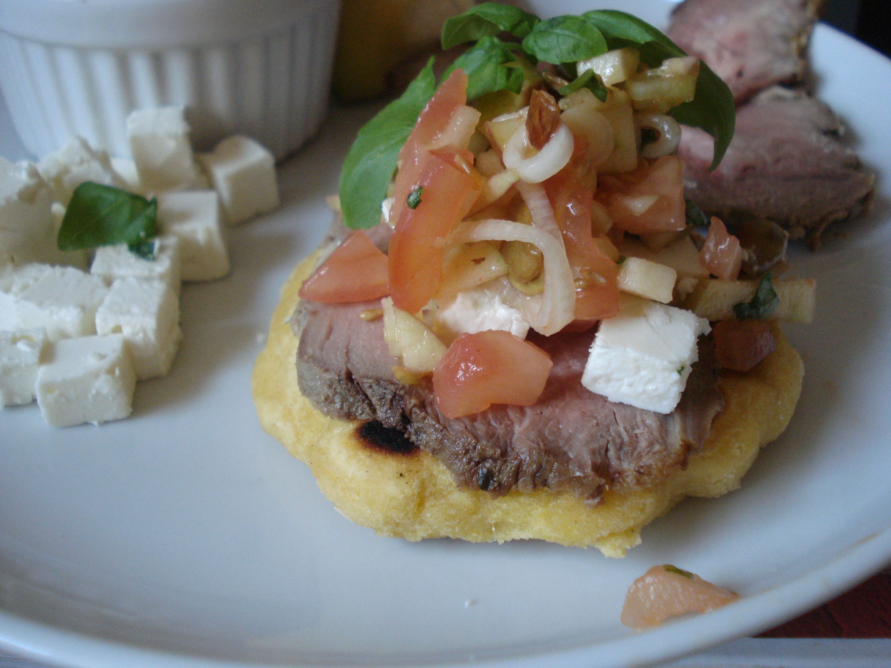 gorditas with apple salsa, feta and veal