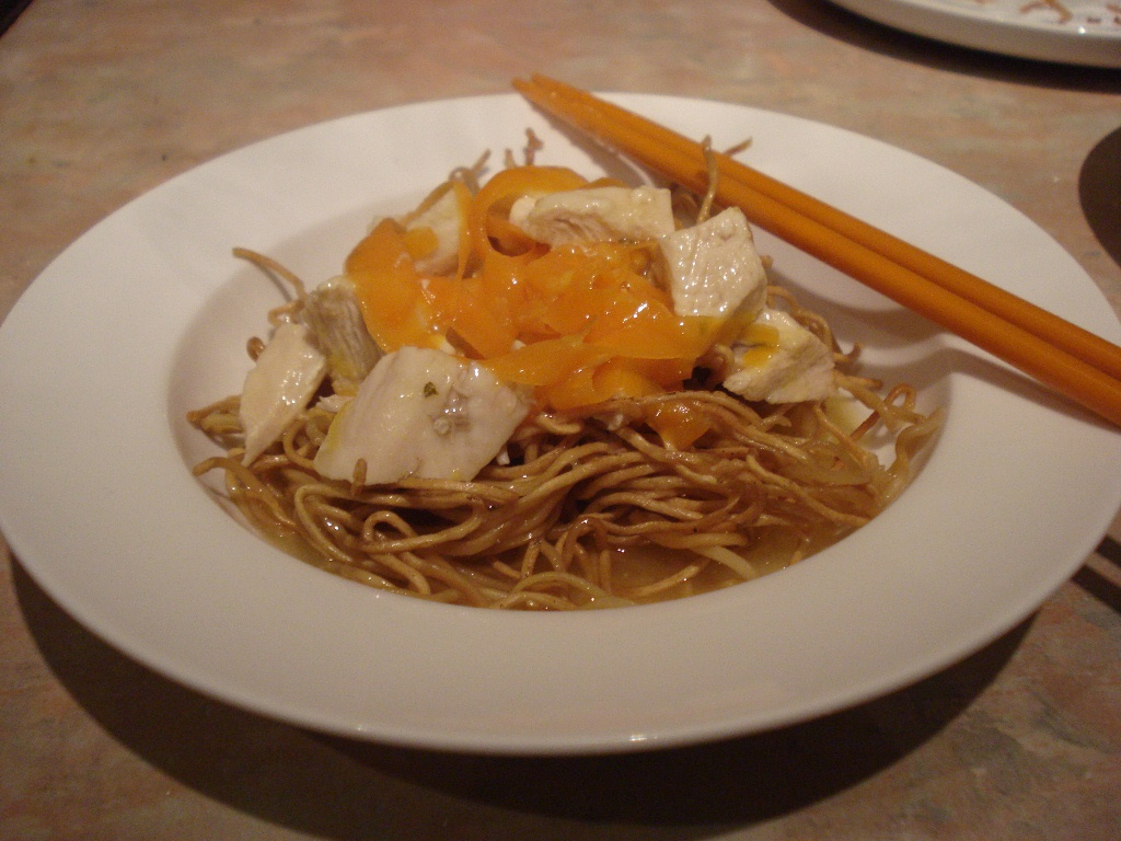 lemon chicken on crispy noodles