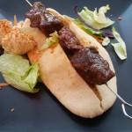 sous vide ox cheek kebab with houmous and pitta