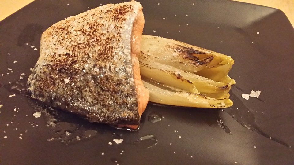 curry salmon with confit chicory