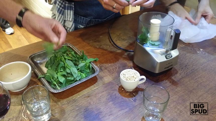 making-pesto