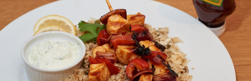 jerk halloumi kebabs with cauliflower cous cous