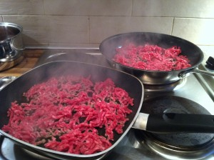 meat frying