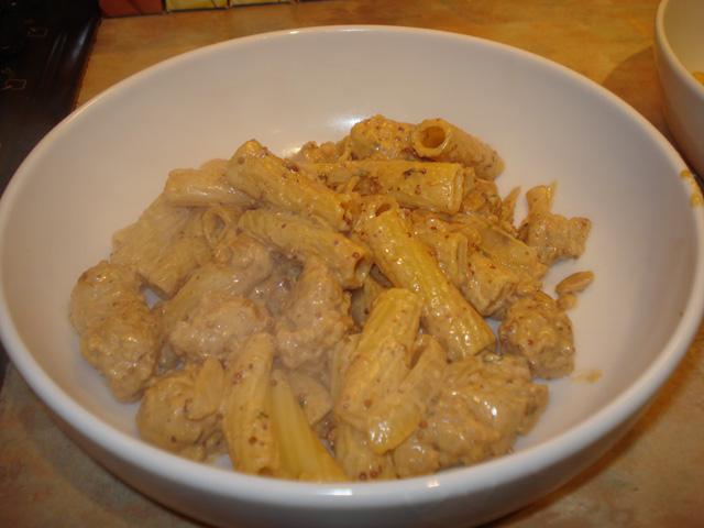 sausage and mustard rigatoni