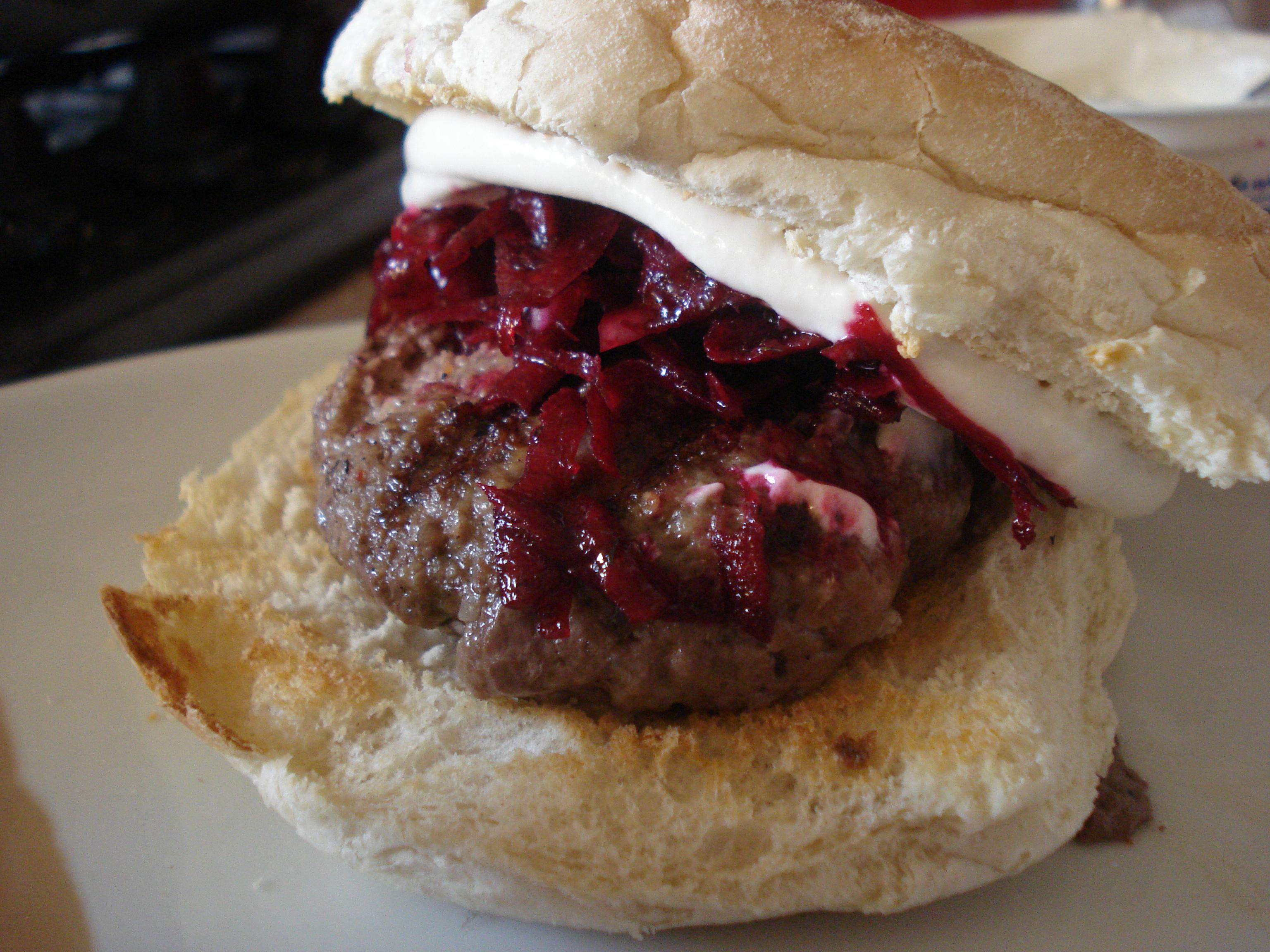 lamb burgers with beetroot relish and tahini yoghurt