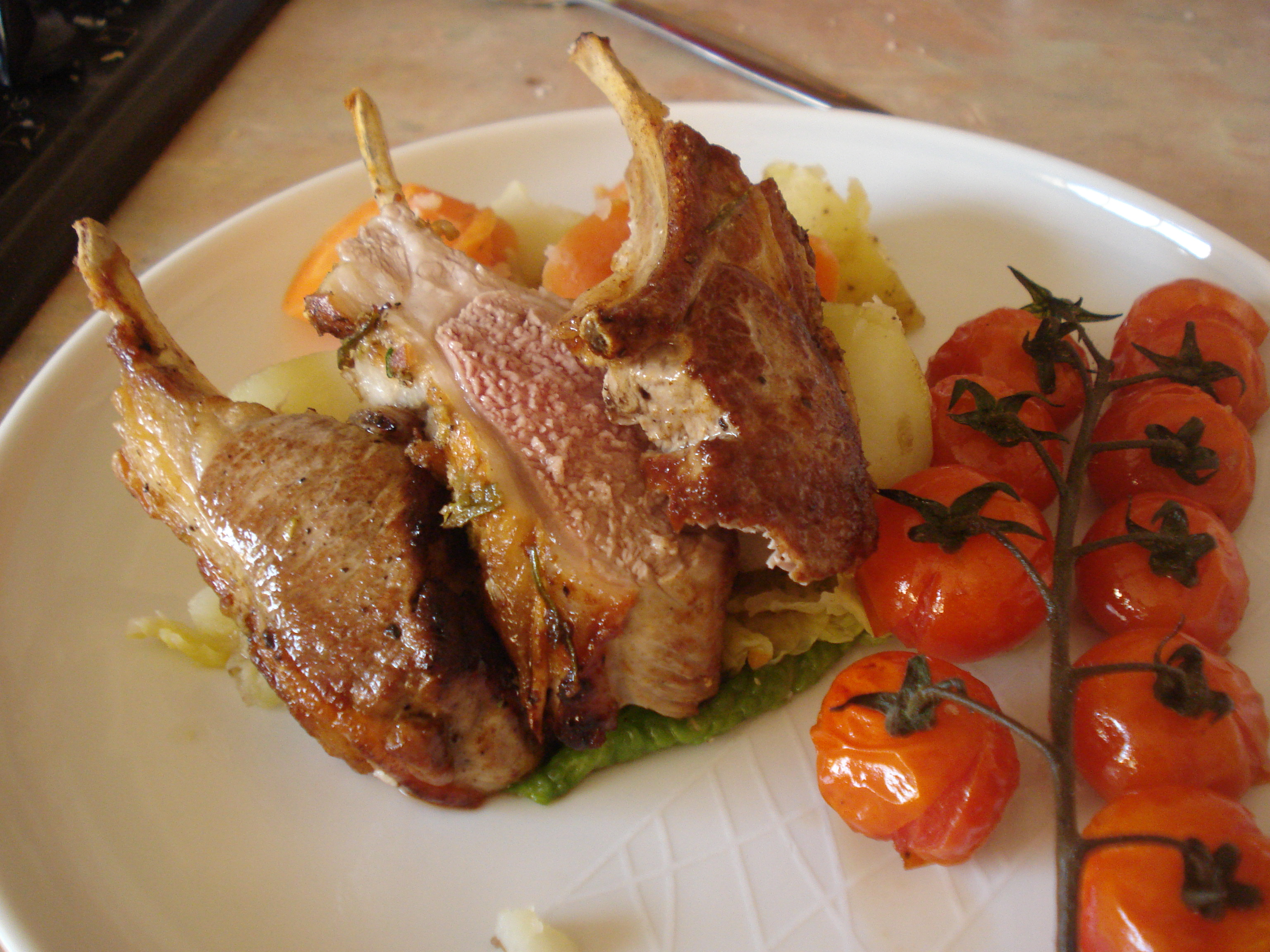spring lamb, vegetable platter, mint sauce with chianti gravy