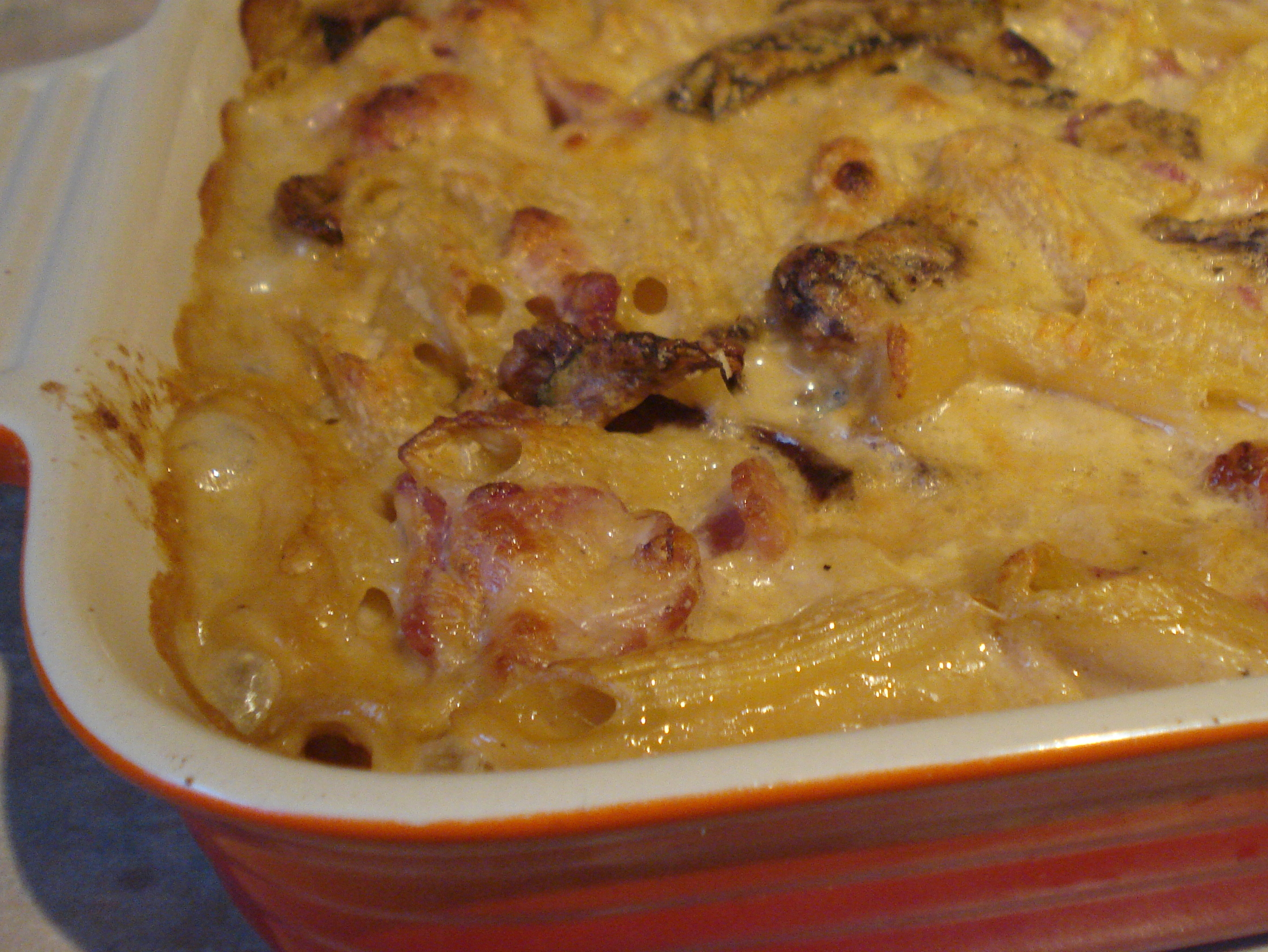 baked penne with bacon and porcini