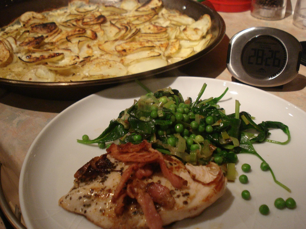 jamie oliver's 15 minute golden chicken with potato gratin and greens