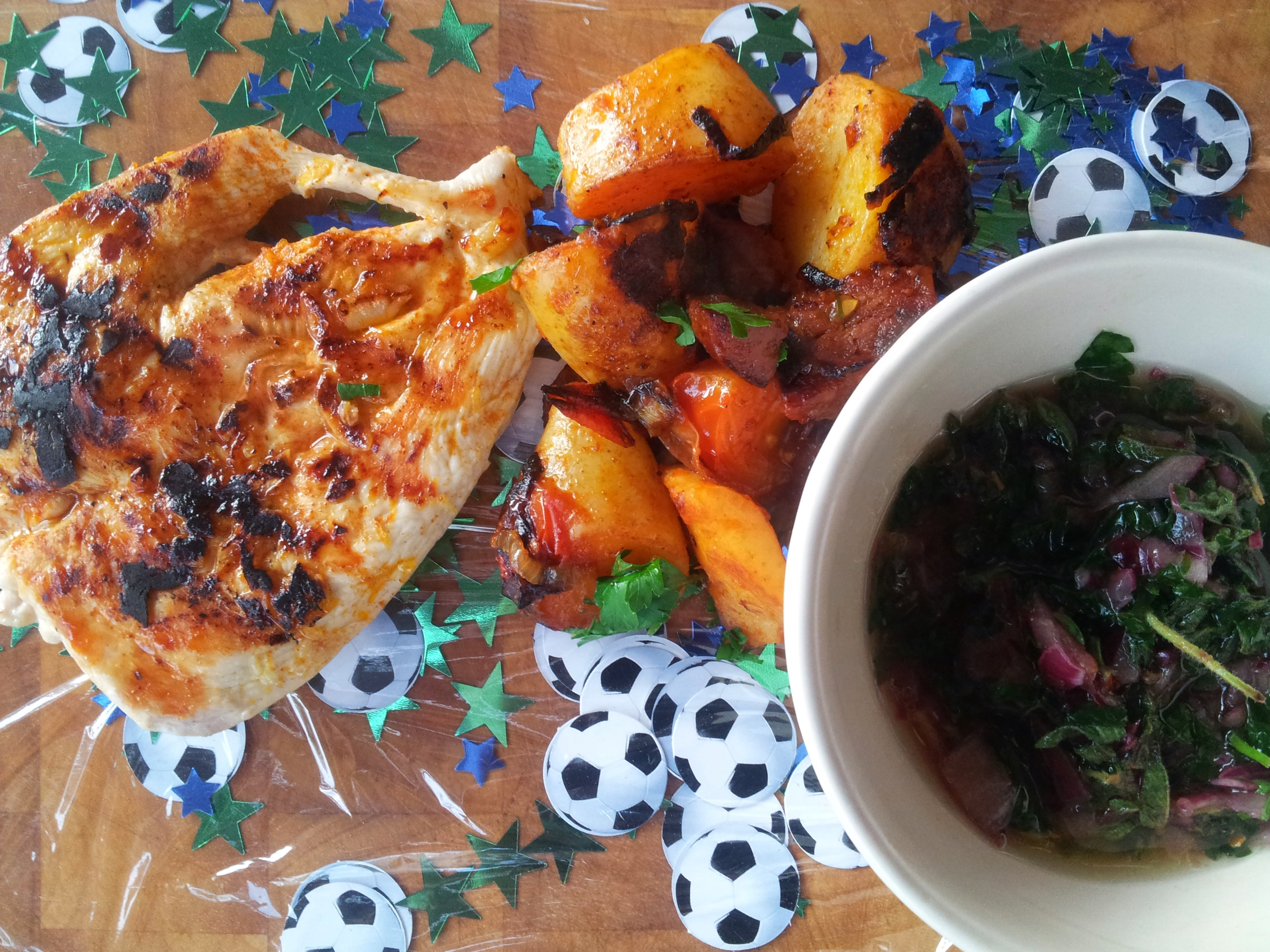 chimichurri chicken with patatas bravas