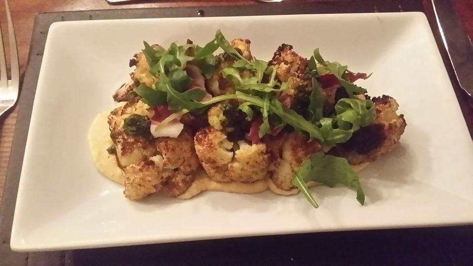 crispy roast cauliflower at The Cricketers
