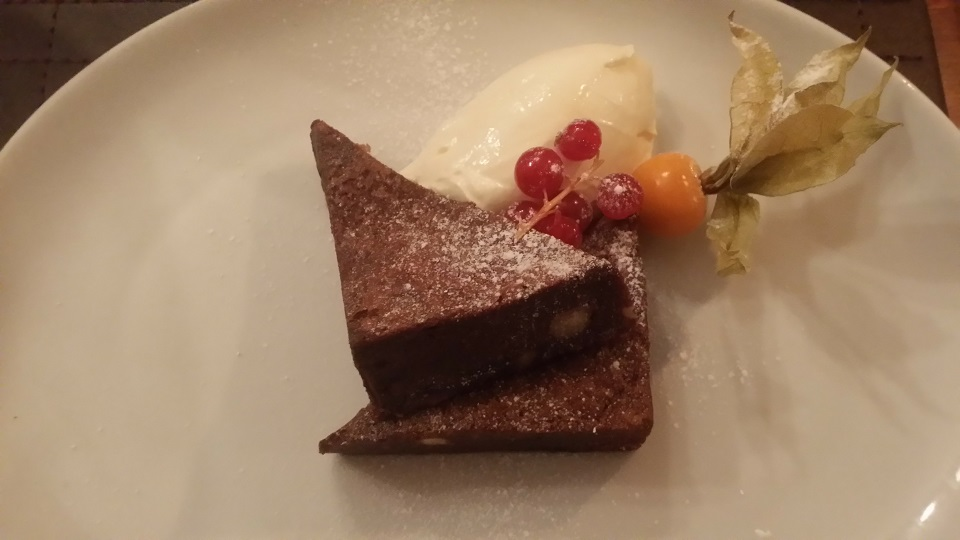 cherry brownie at The Cricketers